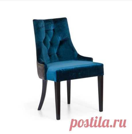 Мягкий стул насыщенного синего цвета из массива дерева Глори 4.В интернет-магазине Chudo-magazin.ru в Москве.