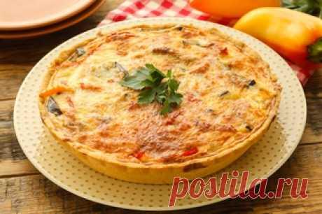 Киш с баклажанами и перцем за 100 минут - рецепт несладкой выпечки от Простоквашино