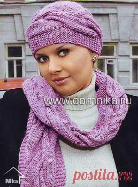 Шапочка и шарф с узором » Вязание крючком и спицами схемы и модели