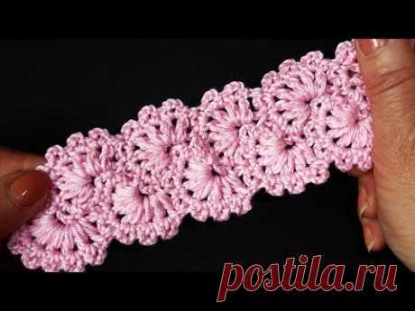 Crochet lace tape Ленточное кружево Вязание крючком  Урок 351