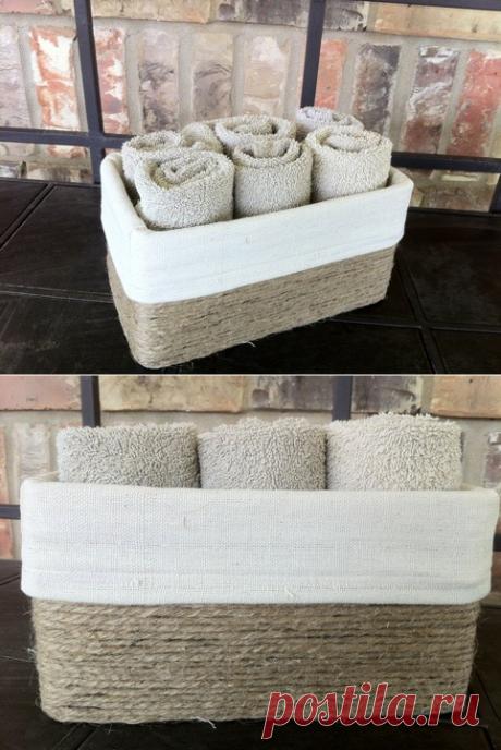 Джутовая корзинка: приятная переделка картонной коробки. Мастер-класс от Tammy Duhon - Nebka.Ru
