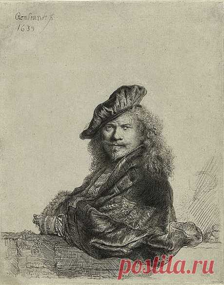 Офорт Рембрандта с автопортретом (1639). Первой попыткой создания автопортрета в стиле предшественников является офорт 1639 года, только берет с головы Кастильоне у Рембрандта заломлен под большим углом, и поза зеркально отражает тициановскую (что в творческом соревновании с Тицианом он сделал не в первый раз: Европа у Рембрандта плывёт в противоположную сторону, нежели у Тициана; «Даная» Рембрандта развернута противоположно всем «Данаям» Тициана).