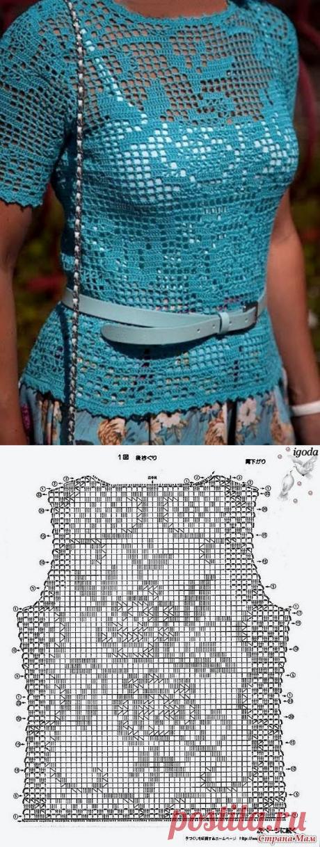Очень красивый филейный топ (Вязание крючком) | Журнал Вдохновение Рукодельницы