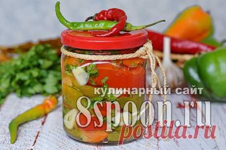 Печеный перец на зиму с чесноком и зеленью - 8 Ложек.ру