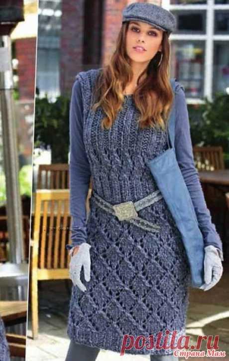 Платье с рельефными узорами - Вязание спицами - Страна Мам