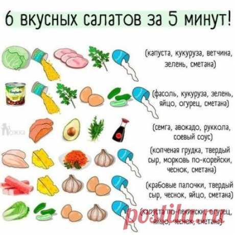 Легкий кoнстpуктop салатoв, кoтоpые готовятся за 5-10 минут 🥙 Οчень полезнo!