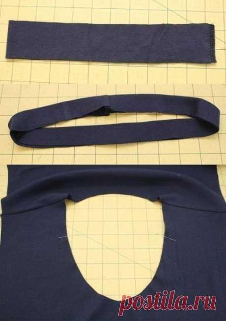 Обработка круглой горловины на трикотажном изделии
