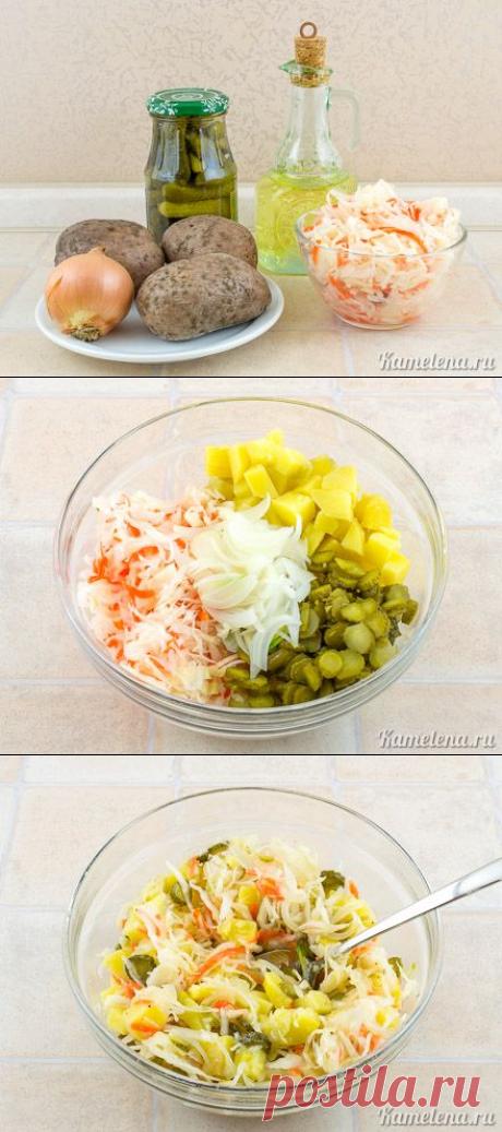Картофельный салат с квашеной капустой - простое русское блюдо — Бабушкины секреты