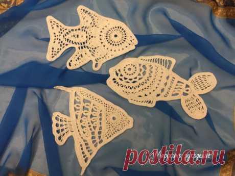 Мои ажурные рыбки. Безотрывное вязание. | Марусино рукоделие | Пульс Mail.ru Три рыбки и много схем.