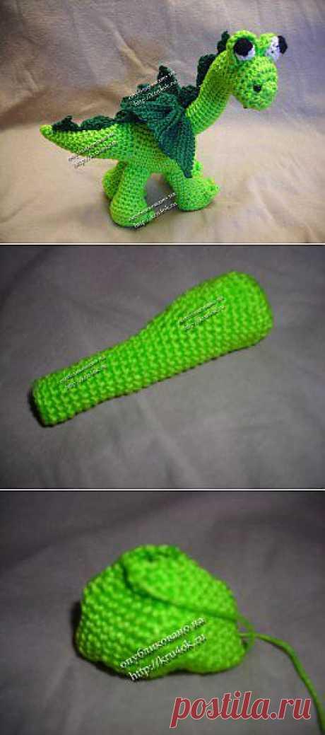 Вязаная игрушка бронтозаврик (дракон) - вязание крючком на kru4ok.ru