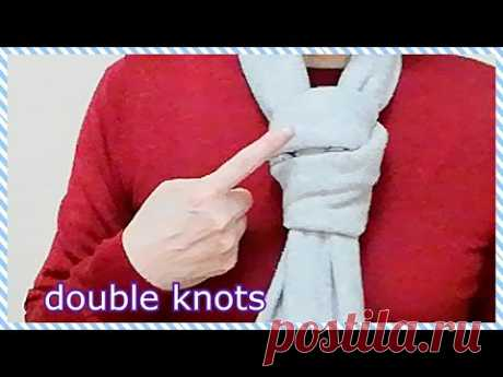 ♥ストールのシングルとダブルノットのネクタイ巻き! tying a long scarf single & double knots necktie