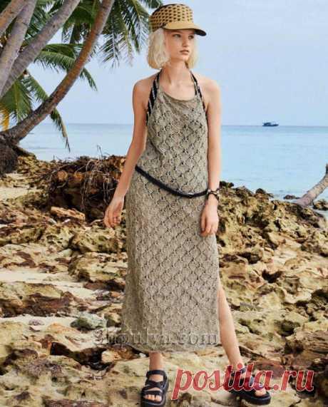 Ажурное платье с открытой спиной — Shpulya.com - схемы с описанием для вязания спицами и крючком