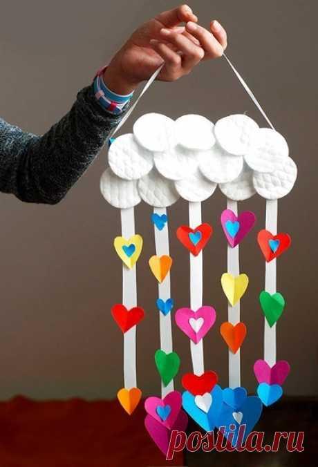 Дождик из сердечек — Поделки с детьми