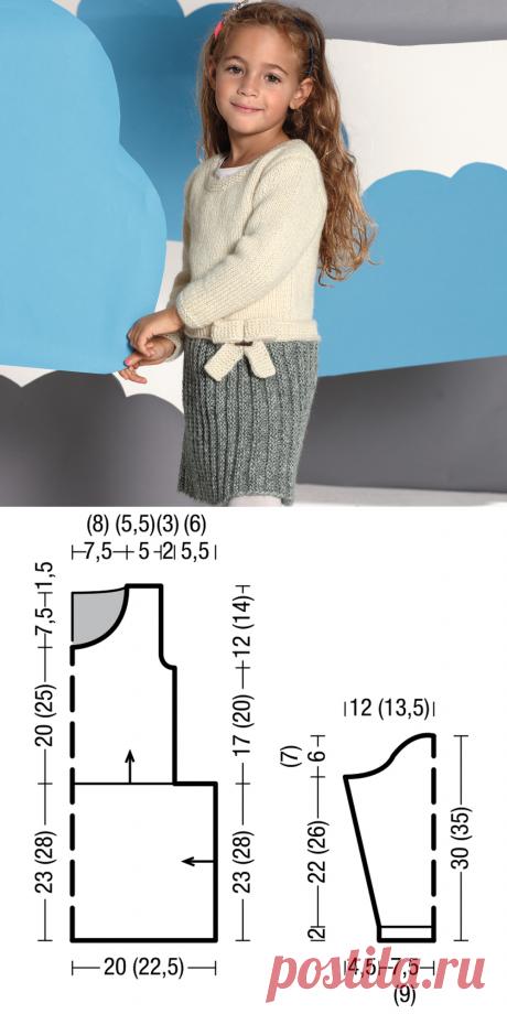 Платье с бантиком для девочки - схема вязания спицами. Вяжем Платья на Verena.ru