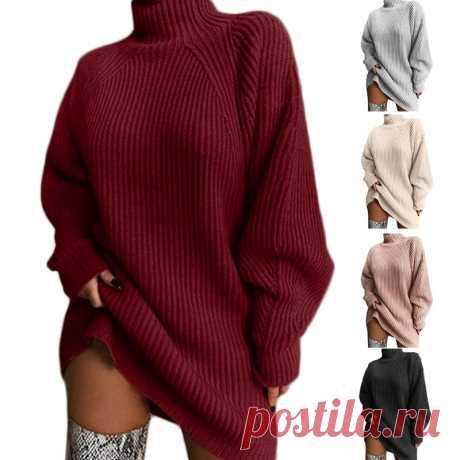 Женское платье свитер средней длины, осень 2020, рукав реглан, водолазка, туника, топы, ребристый вязаный однотонный свободный джемпер большого размера|Водолазки| Детские жаккарды| роспись по ткани | готовые выкройки | вечерние платья крючком