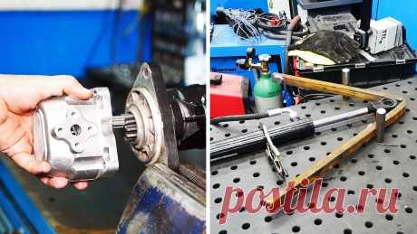 Как сделать мощный гидропривод из стартера и масляного насоса от трактора Ничто не способно обеспечить столь мощное сжатие, как гидравлика. Именно поэтому ее используют в конструкциях гибочных станков, подъемников для автомобилей, прессах. Рассмотрим, как и из деталей от трактора можно сделать универсальный гидропривод, для практически любой