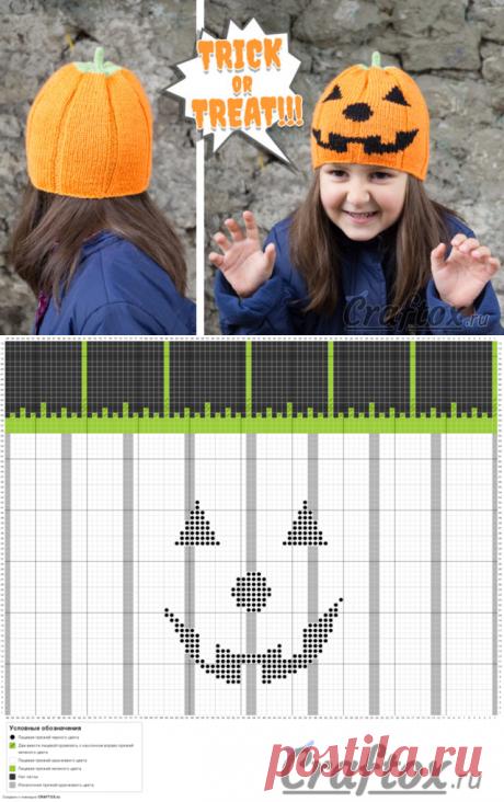Шапка тыква на Хэллоуин (Halloween). Вязание спицами. Модель, схема и описание.