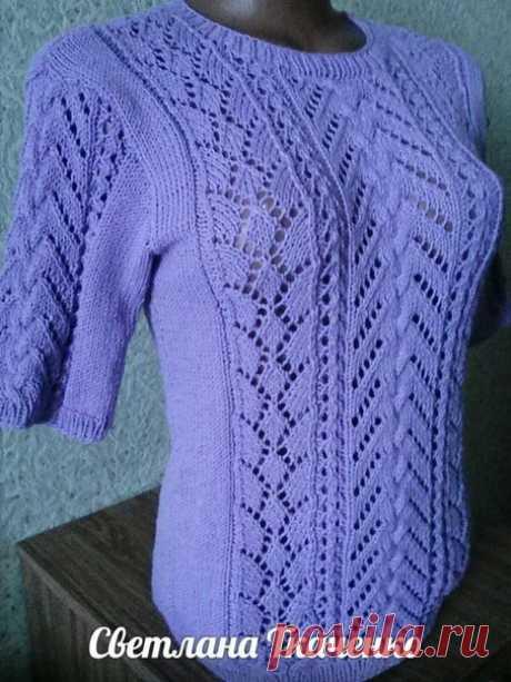 Красивый ажурный пуловер спицами. Схемы и описание #ПуловерСпицами #ВязаниеСпицами #вязание