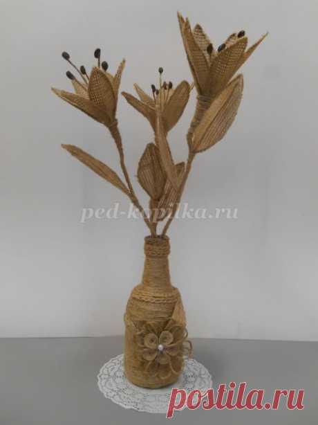 Лилии из мешковины своими руками. Мастер-класс с пошаговыми фото