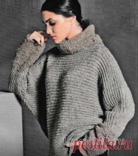 Свободный пуловер с рукавом летучая мышь и митенки схема спицами »Люблю Вязать