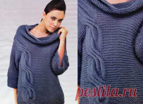 Вязание - модели и схемы: Темно-синий пуловер с боковой косой