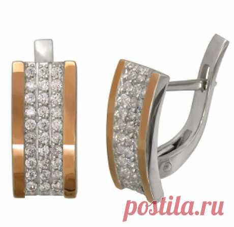 """Интернет магазин ювелирных изделий """"Serebro-Bro"""" предлагает на ваше усмотрение купить по низкой цене серебряные женские серьги с золотыми накладками. Серьги с золотыми накладками и фианитами с английской застежкой.  Проба: 925° Металл: серебро 925° с золотыми накладками 375° Камни: фианит вес: 4,3"""