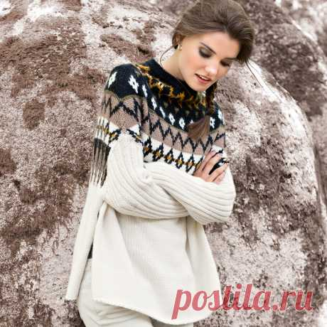 Jumper cape with the jacquard coquette - the scheme of knitting by spokes. We knit Jumpers on Verena.ru