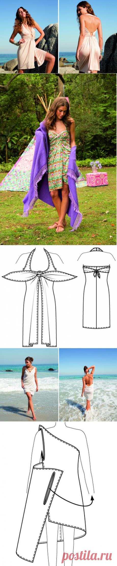 Пляжное платье без выкройки за полчаса — Мастер-классы на BurdaStyle.ru  все размеры