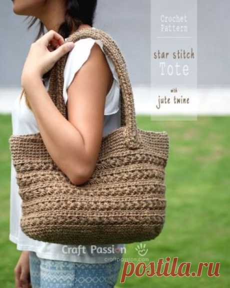 Star Stitch Tote - Free Crochet Pattern | Craft Passion– Page 2 of 2 Crochet pattern of star stitch tote by using jute twine. Picture tutorial and video link available to make the instruction easy to understand & to follow. – Page 2 of 2