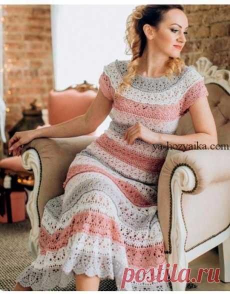 Платье крючком красивым узором 2020.Летнее женское платье крючком со схемами