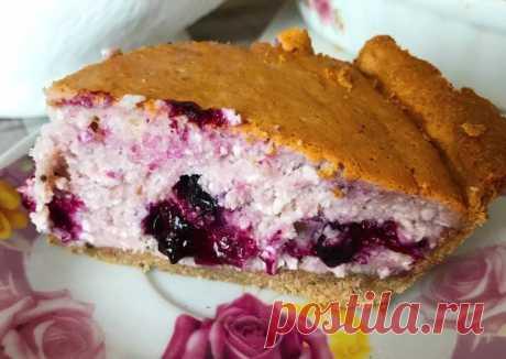 Творожно-ягодный пирог на коричной основе - пошаговый рецепт с фото.