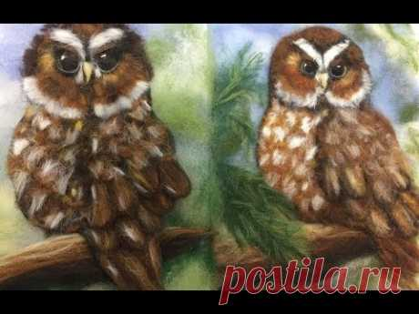OWL - PAINTING BY SIX \/ FELTING OF PICTURE\/HOW TO MAKE A PICTURE OF WOOL