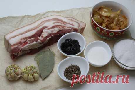 Сало горячего посола с луковой шелухой и черносливом. Идеальный рецепт для засолки подчеревка. | Дилетант на кухне. | Яндекс Дзен