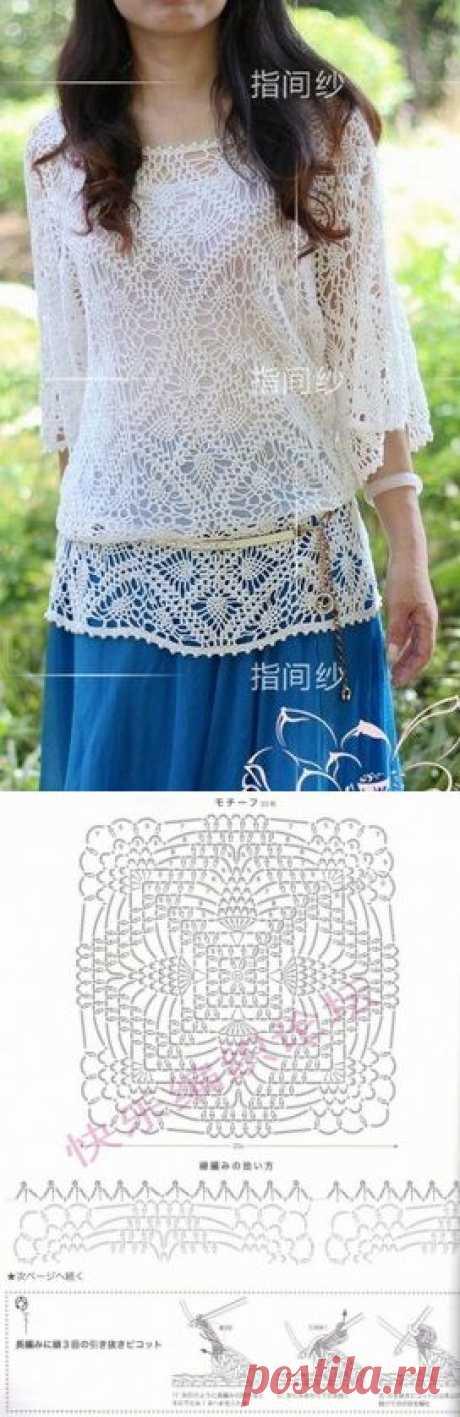 Вязание: стильная туника крючком.