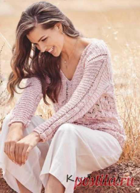 Вязание спицами - пуловер с V-образной горловиной: схема с описанием