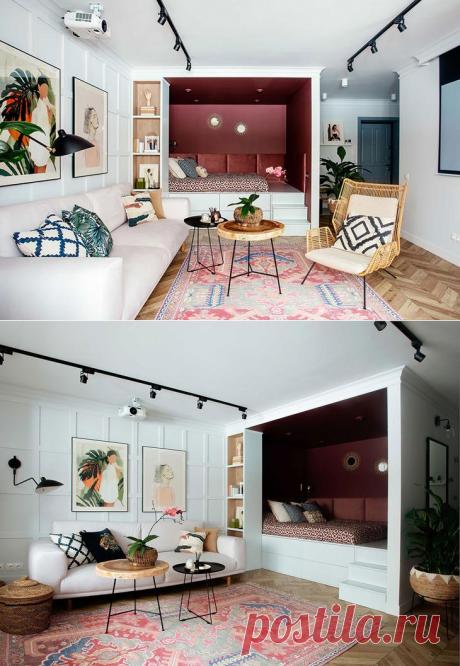 Приятная маленькая квартира с красной спальней на пьедестале для девушки