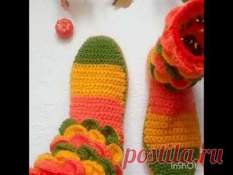 Вязаные сапожки крючком.#crochetedslippersocks #crochetedslippers, вязаные тапочки крючком видео - YouTube