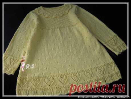 Платье с сердечками на 3-4 года (спицы)