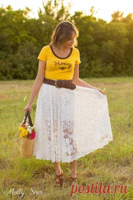 Легкая летняя юбка из кружевной скатерти за несколько минут ...