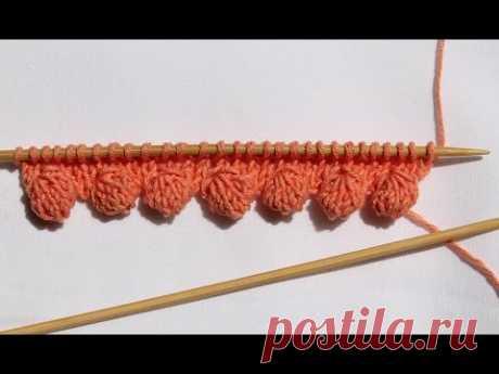 Край с «шишечками», вязание спицами