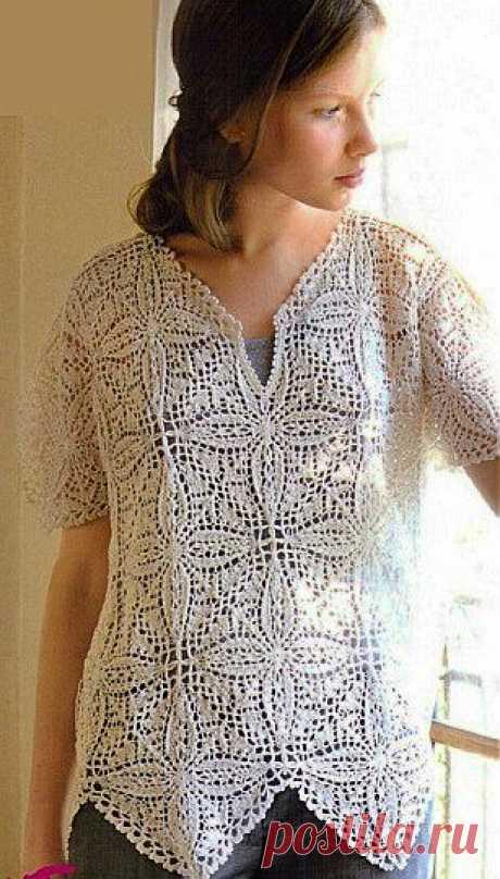 Оригинальная туника спицами | Рукоделие и вязание