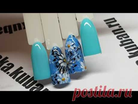 Простой и быстрый дизайн ногтей для начинающих мастеров. Летние ромашки. Ромашковая поляна