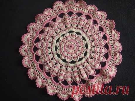 Круглый коврик крючком/МК/цветочек/Crochet