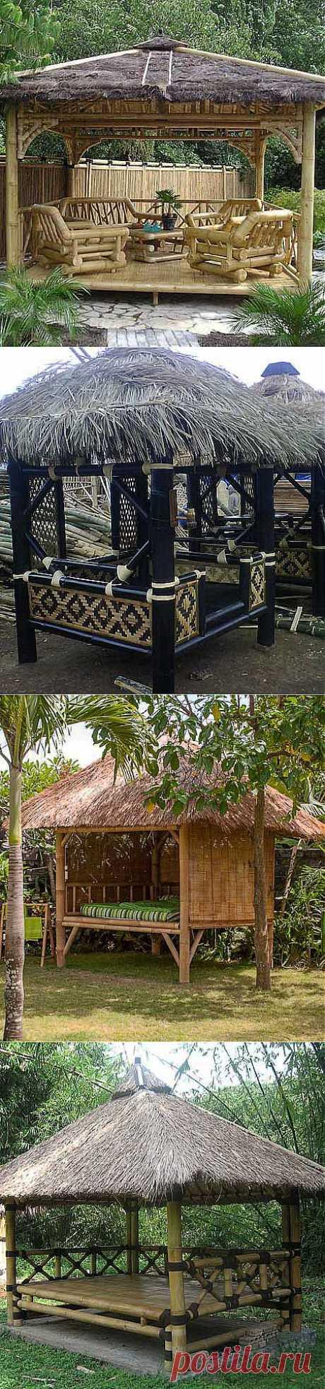 Необычные садовые беседки: 10 беседок в восточном стиле из бамбука