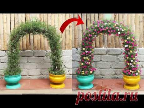 Красивые идеи цветочных ворот для сада из пластиковых бутылок