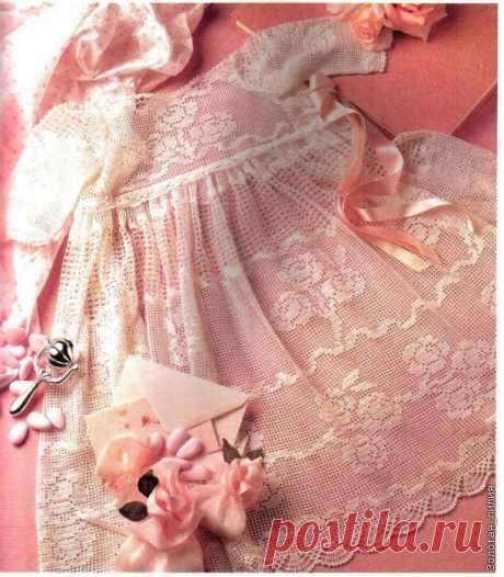 Красивое платье для девочки (филейное вязание)