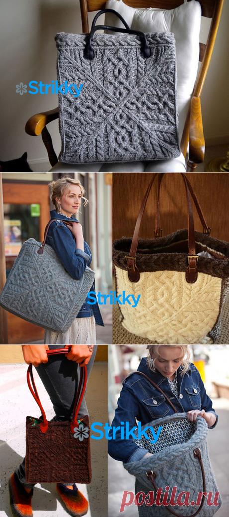 Большая сумка с шикарными аранами от Amanda Scheuzger вязаная спицами
