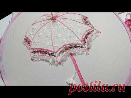 How to embroider an umbrella * Еmbroidery for beginners * easy stitches #malina_gm