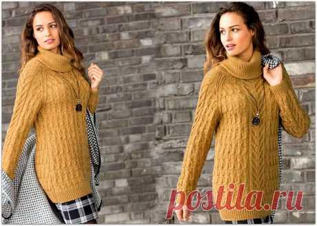 Удлиненный свитер с рельефными узорами