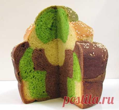 Хлебная цветная мозаика.Трехцветный хлеб в японском стиле